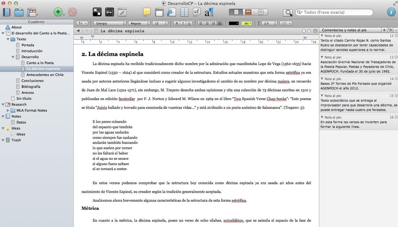 Trabajando un libro en Scrivener